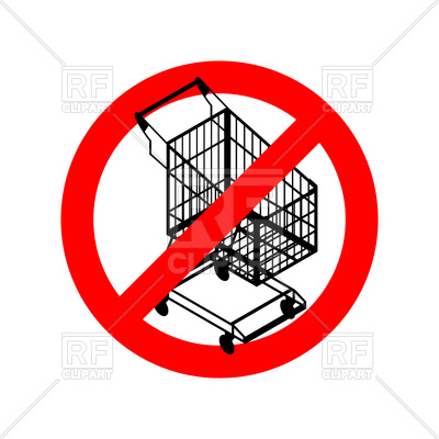 400x400 Stop Shopping Cart, Prohibited Shopping Trolley Royalty Free