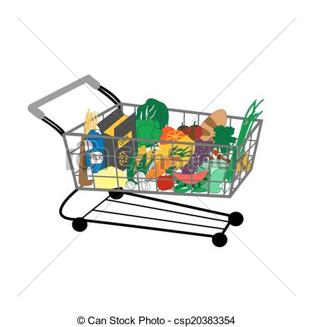 450x470 Vector Illustration Of Shopping Cart Full Of Food Clipart Vector