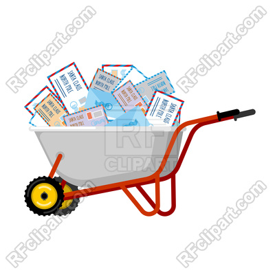 400x400 Wheelbarrow And Mail For Santa Claus Royalty Free Vector Clip Art