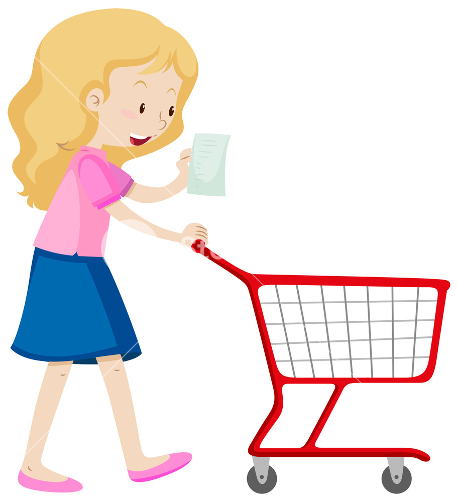 912x1000 Woman Read Shopping List And Pushing Cart Illustration Royalty