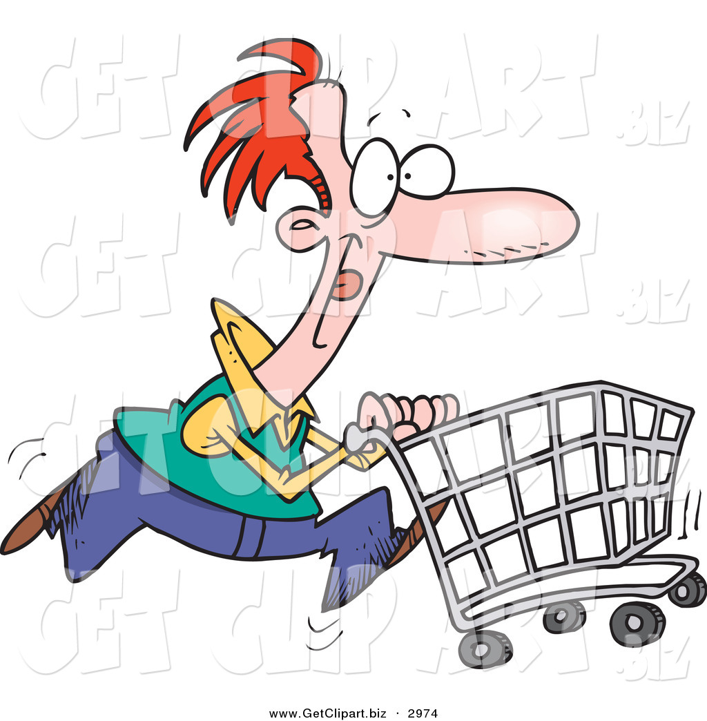 1024x1044 Clip Art Of A Red Haired Caucasian Man Pushing A Shopping Cart
