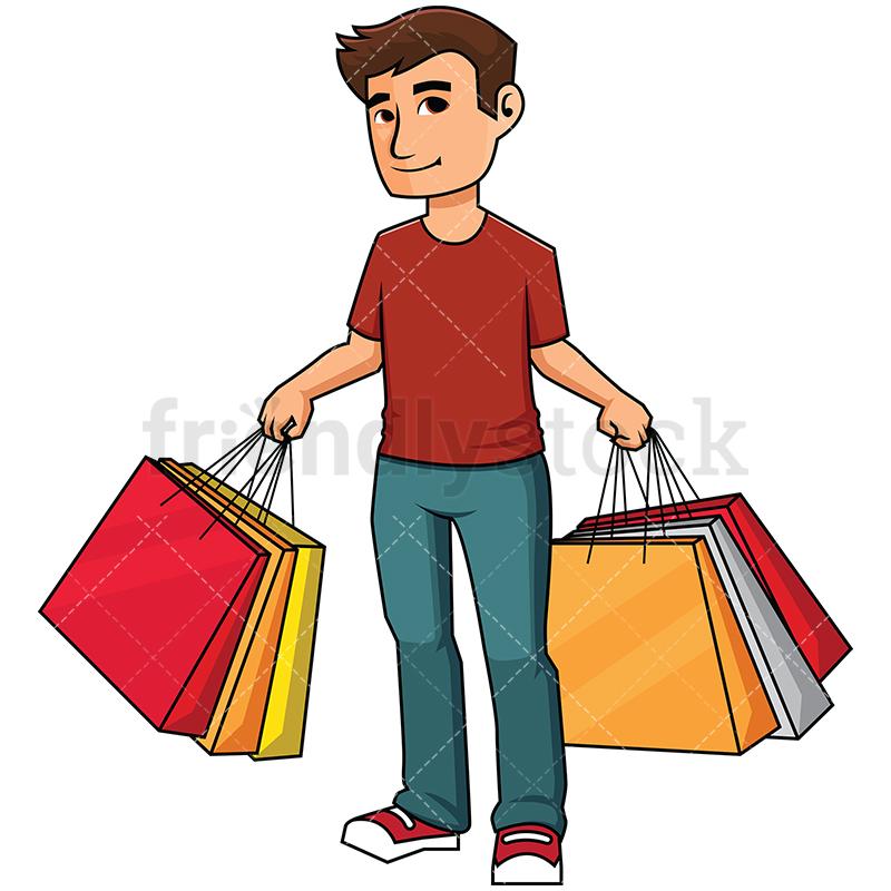 800x800 Man Holding Shopping Bags Vector Cartoon Clipart