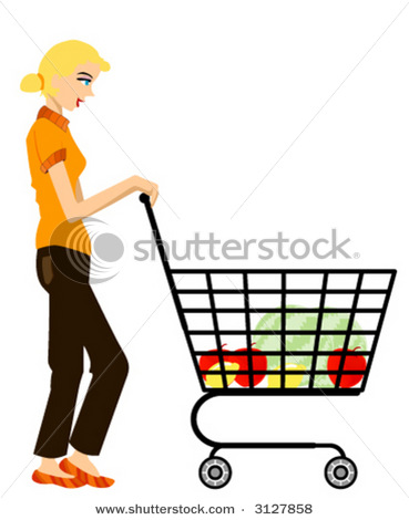 369x470 Picture Of A Woman With A Grocery Cart Shopping For Healthy Food