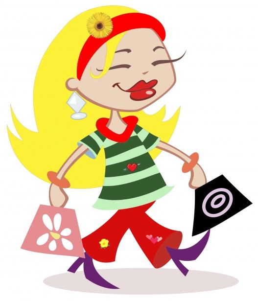 527x615 Shopping Woman Clipart Free Stock Photo