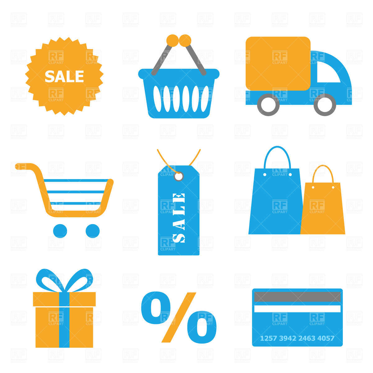 1200x1200 Shopping Icons Royalty Free Vector Clip Art Image