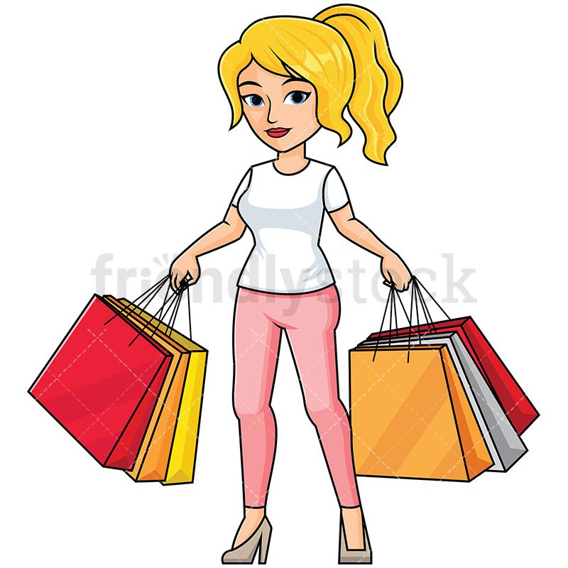 800x800 Woman Holding Shopping Bags Vector Cartoon Clipart