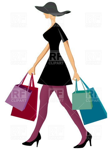 360x480 Woman With Shopping Bags Royalty Free Vector Clip Art Image
