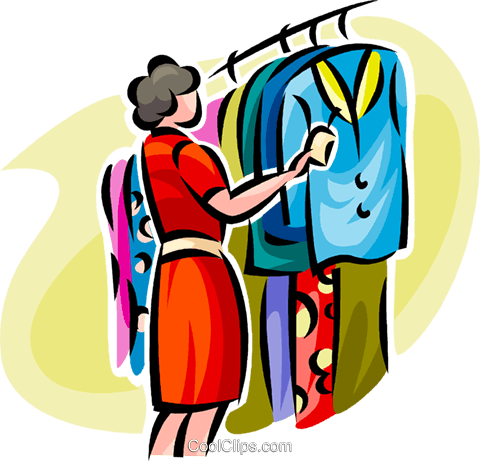 480x461 Woman Shopping For Clothes Royalty Free Vector Clip Art