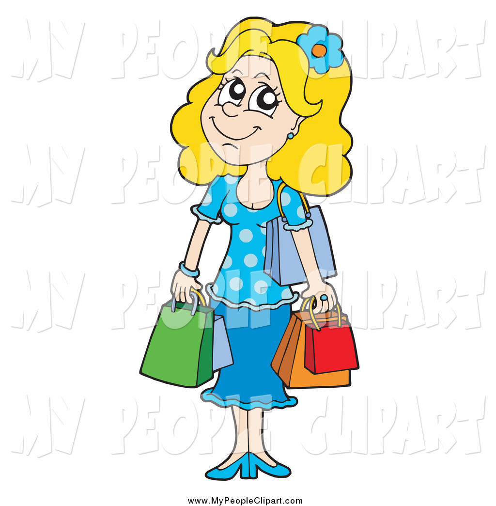 1024x1044 Clip Art Of A Happy Blond Shopping Woman By Visekart