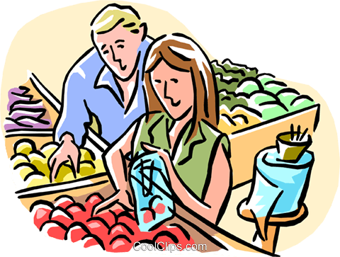 480x363 Couple Grocery Shopping Royalty Free Vector Clip Art Illustration