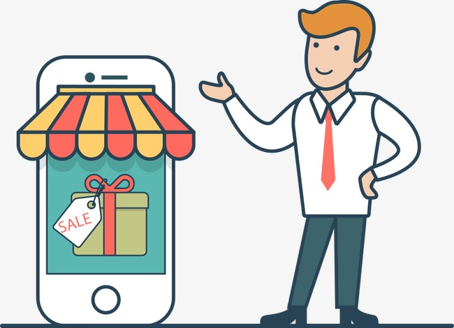 650x470 Vector Mobile Shopping Mall Man, Business Man, Mobile Shopping