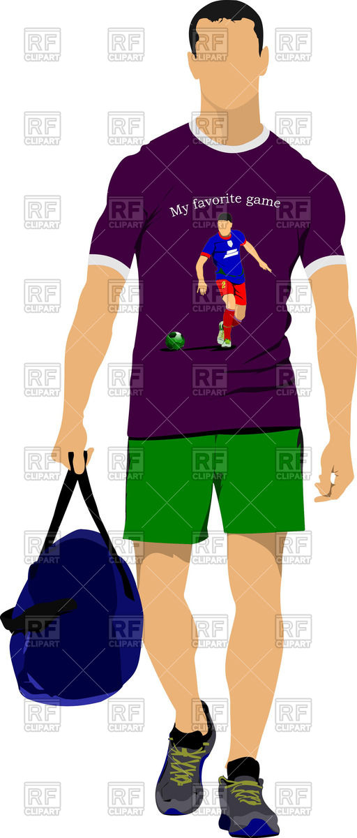 512x1200 Sportsman In Shorts And T Shirt With Sports Bag Royalty Free