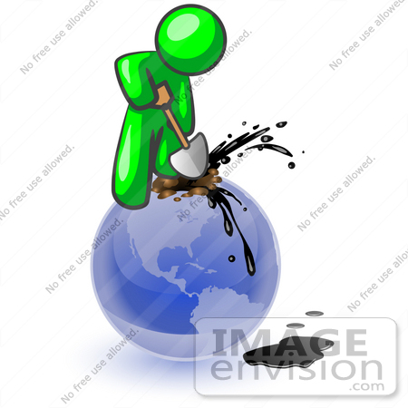 450x450 Cliprt Graphic Of Green Guy Character Stabbing Shovel Into