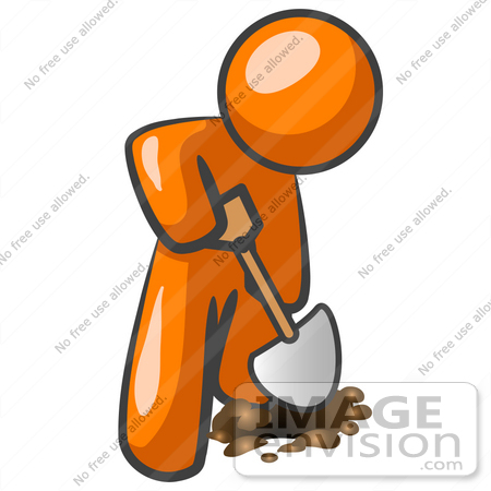 450x450 Clip Art Graphic Of An Orange Guy Character Using A Shovel To Dig