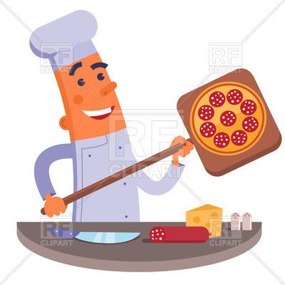 400x400 Happy Cartoon Chef Holding Pizza Shovel With Pizza Royalty Free