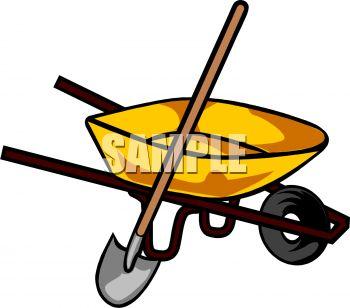 350x308 Royalty Free Clip Art Image A Wheelbarrow With A Shovel