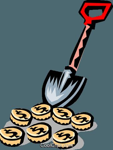 361x480 Shovel Digging For Money Royalty Free Vector Clip Art Illustration
