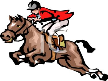350x262 Picture Of A Jockey Riding A Horse In A Vector Clip Art