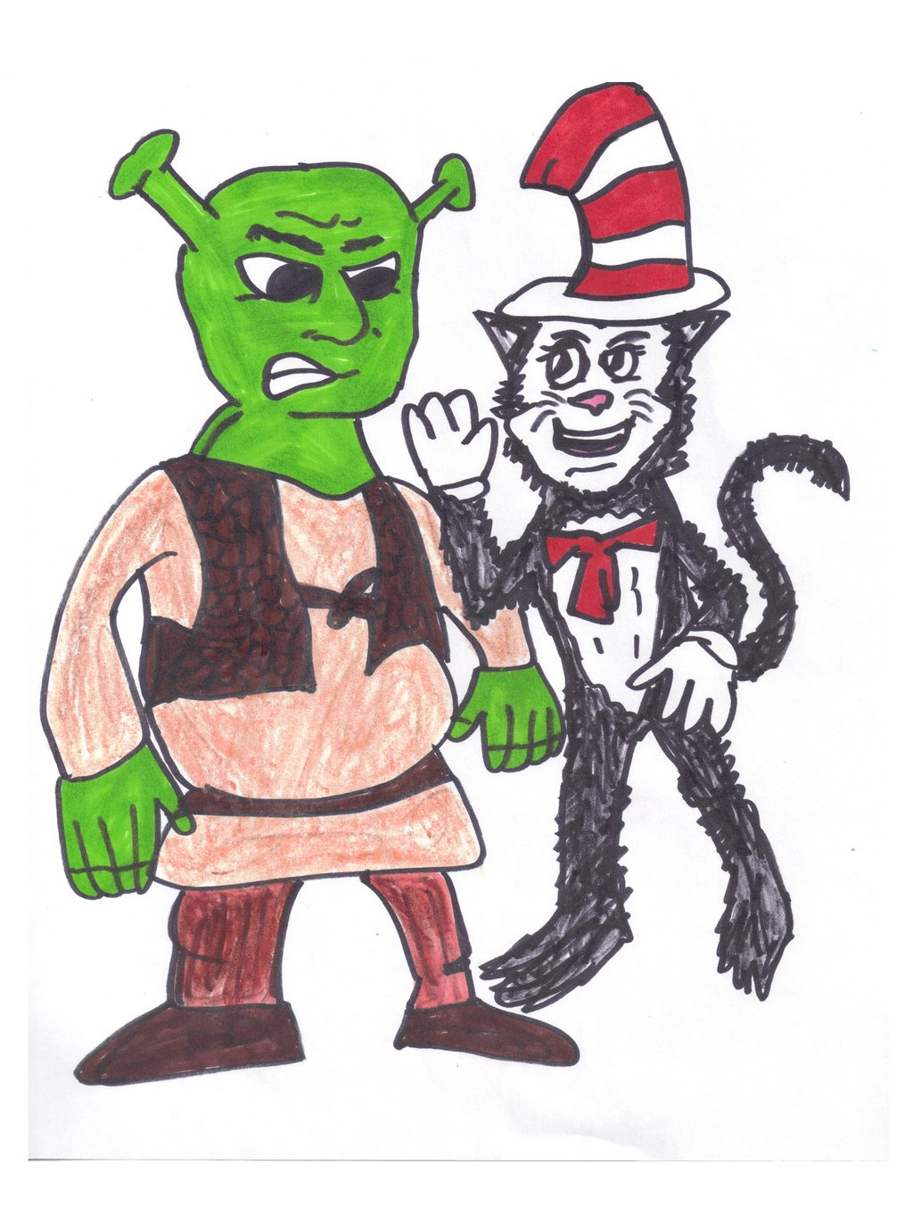 1024x1370 Shrek And The Cat In The Hat By Sonicclone