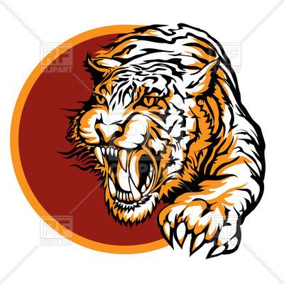 400x400 Roaring Tiger Logo Royalty Free Vector Clip Art Image