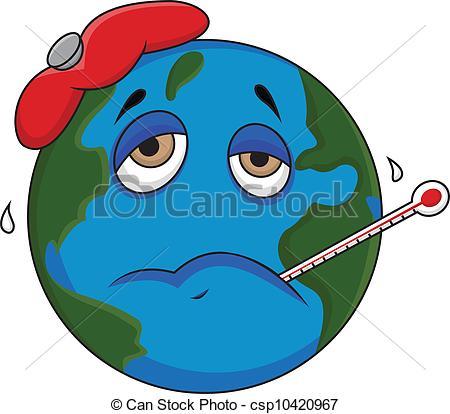 450x414 Sick Earth Cartoon. Vector Illustration Of Sick Earth Clip Art