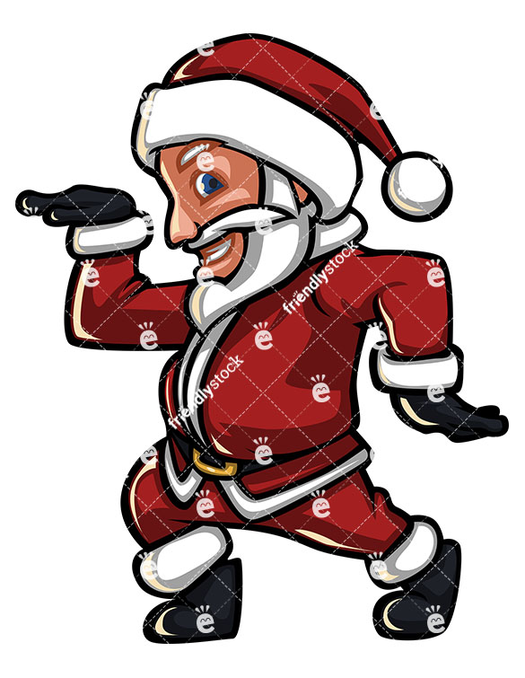 585x755 Santa Claus Dancing With Disco Moves Stock Vector Clipart