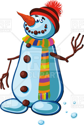 269x400 Snowman With Silly Smile Waving Branches Of The People Royalty
