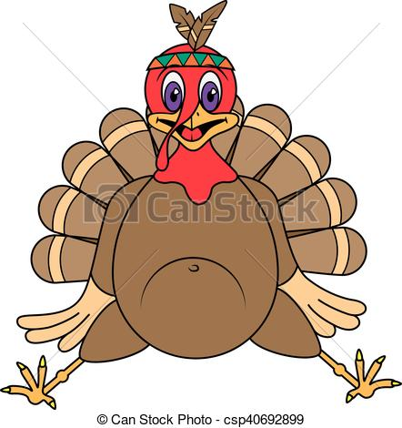 442x470 Vector Illustration Funny Turkey Cartoon Character On A Eps