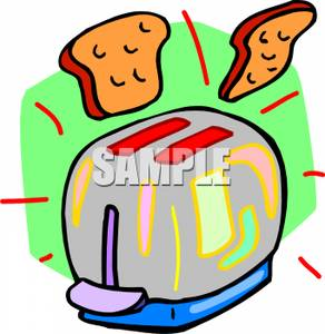 292x300 Clipart Picture A Silver Toaster With Two Slices Of Bread