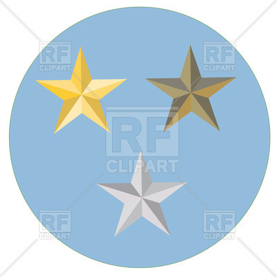 400x400 Golden, Silver And Bronze Stars Royalty Free Vector Clip Art Image