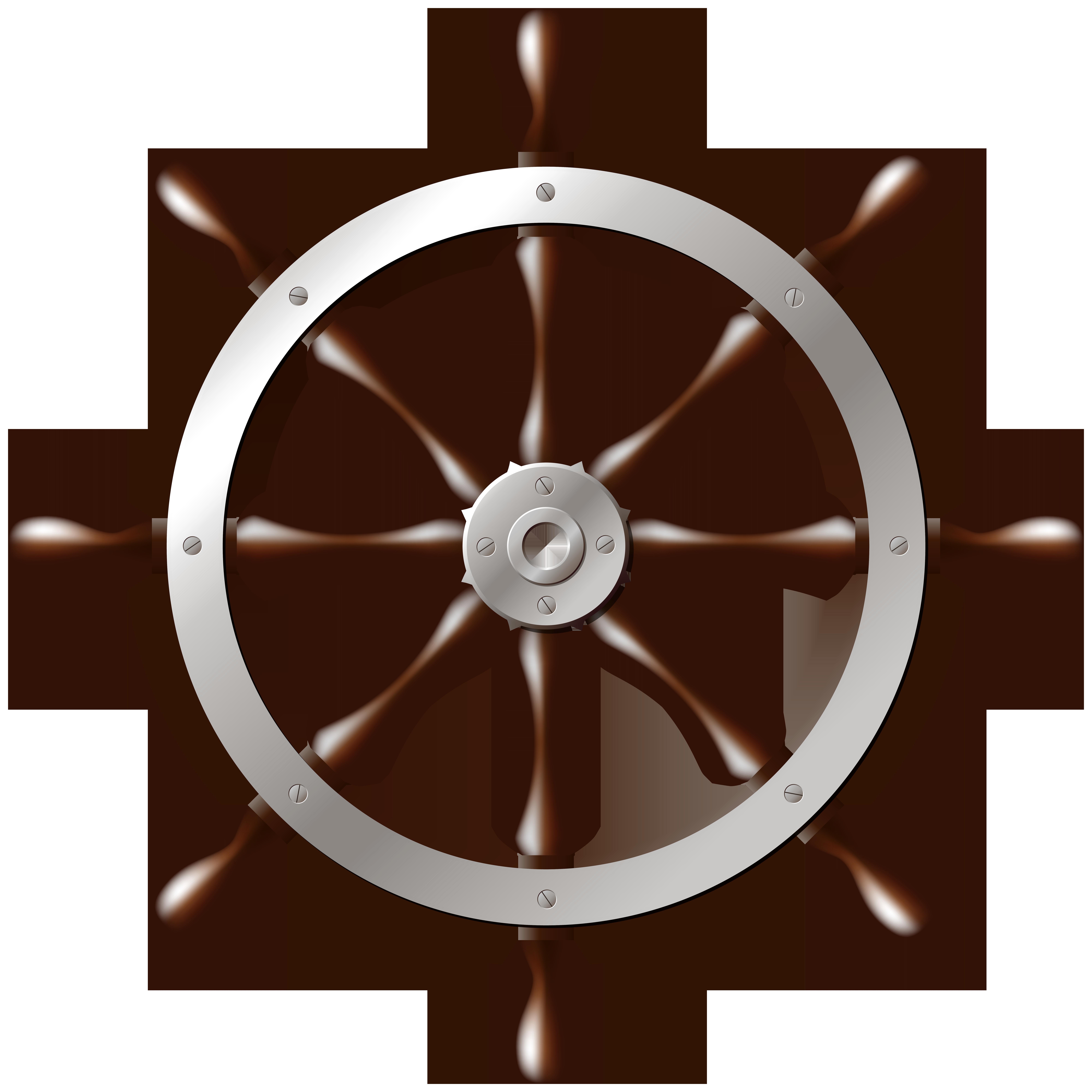 8000x8000 Ship Wheel Silver Png Clip Art