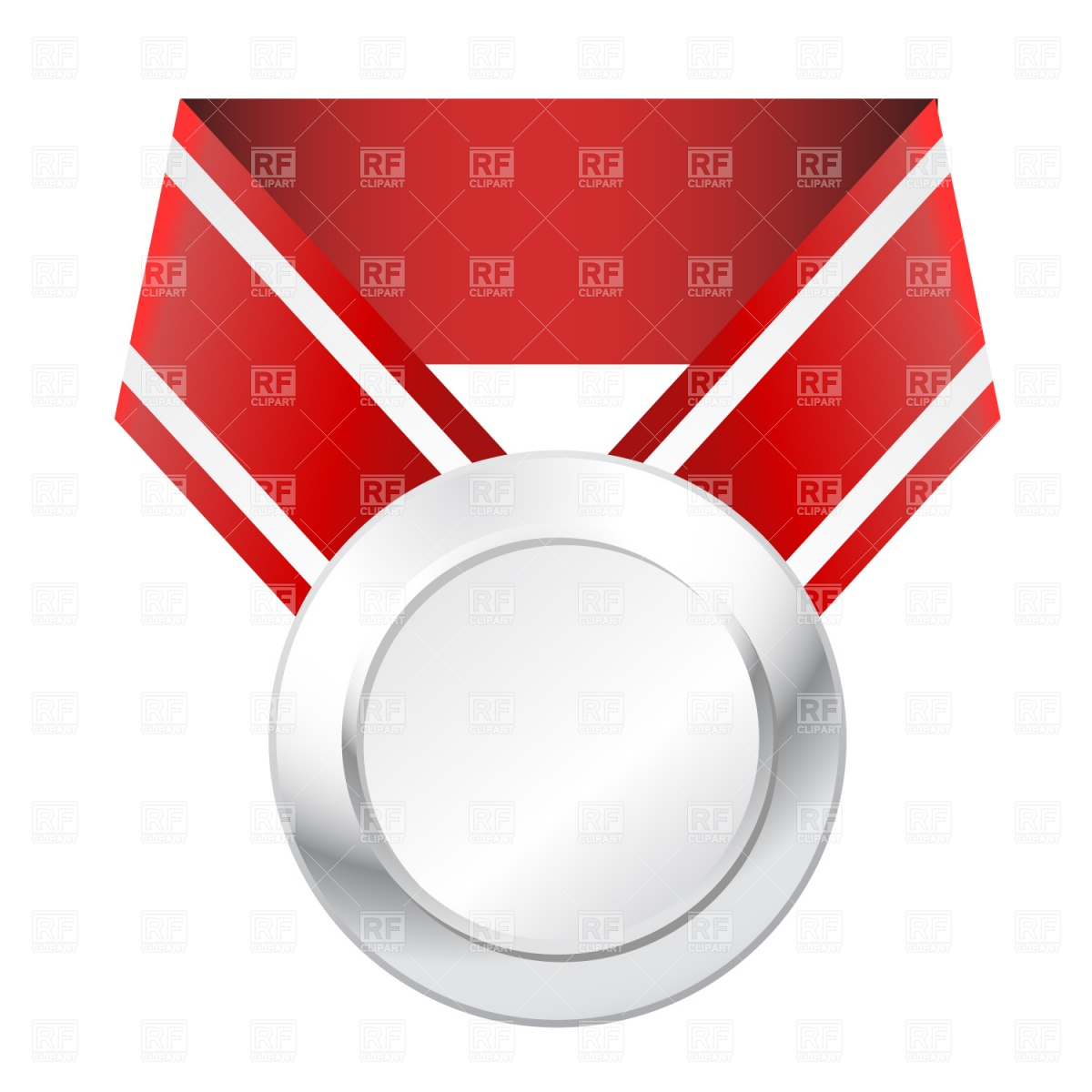 1200x1200 Silver Medal With Red Ribbon Royalty Free Vector Clip Art Image