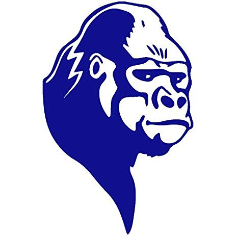 463x463 Silverback Gorilla Decal Sticker (Blue),