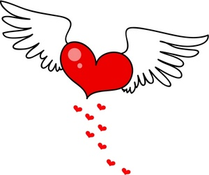 300x251 Heart With Angel Wings Drawings Clip Art Library