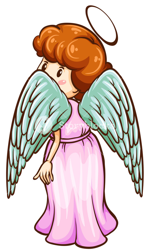 594x1000 Illustration Of A Simple Sketch Of An Angel On A White Background