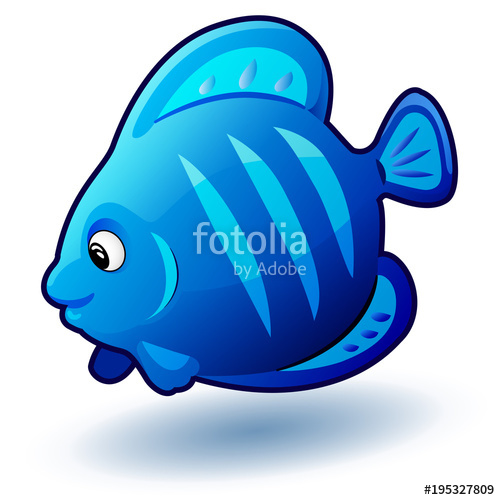 500x500 Cute Cartoon Small Fish. Vector Clip Art Illustration With Simple
