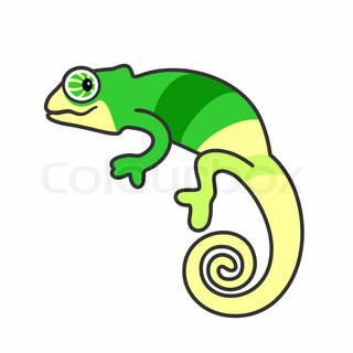 320x320 Cartoon Chameleon Vector Clip Art Illustration With Simple 2
