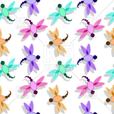 400x400 Simple Dragonfly Seamless Pattern Royalty Free Vector Clip Art