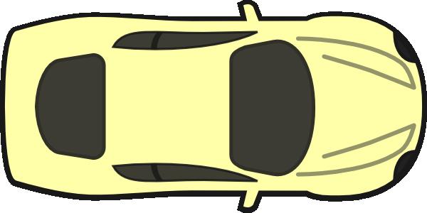 600x300 Yellow Car, Top View Clip Art