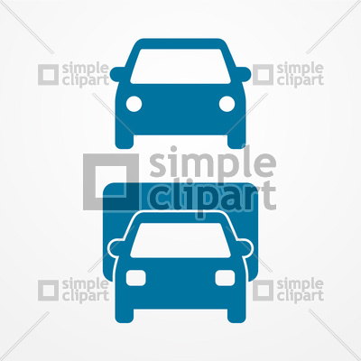400x400 Car Simple Icon, Front View Vector Image