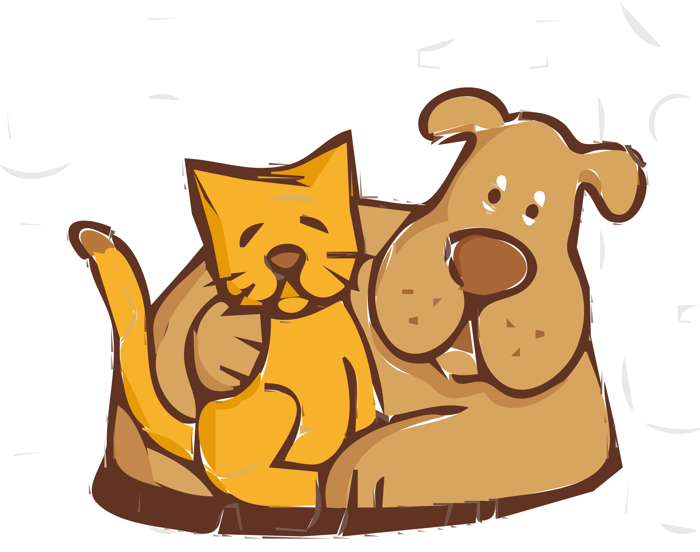 2400x1891 Clipart Of A Dog And Cat Pet Simple Pencil In Color
