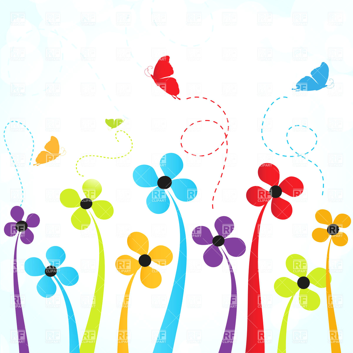 1200x1200 Simple Flowers And Butterflies Download Royalty Free Vector File