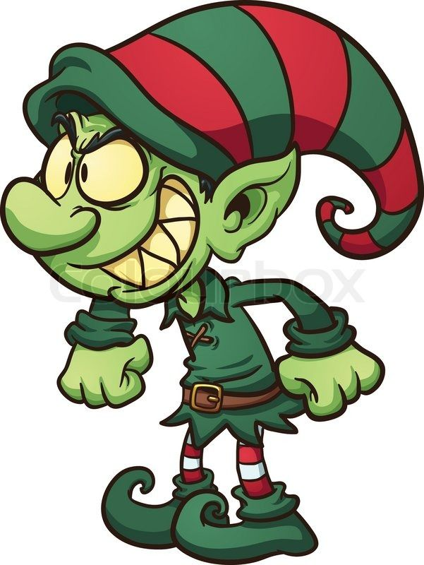 601x800 Evil Christmas Elf. Vector Clip Art Illustration With Simple