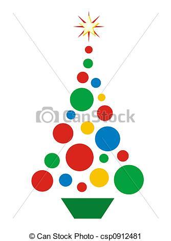 334x470 Christmas Ball Tree. Simple Illustration Of Christmas Tree