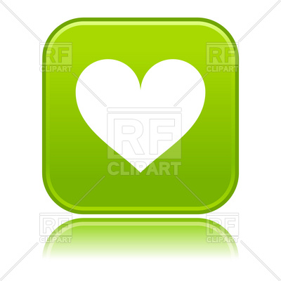 400x400 Green Button With Simple Heart Icon Royalty Free Vector Clip Art