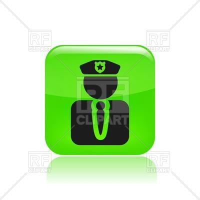 400x400 Policeman In Peaked Cap Simple Icon Royalty Free Vector Clip Art