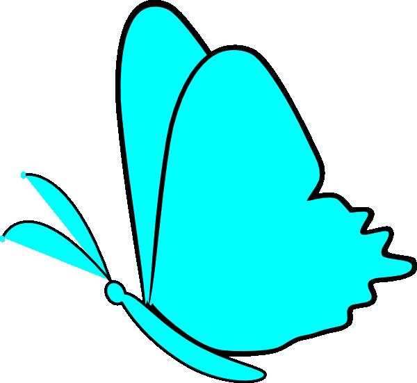 600x551 Simple Blue Butterfly Clip Art