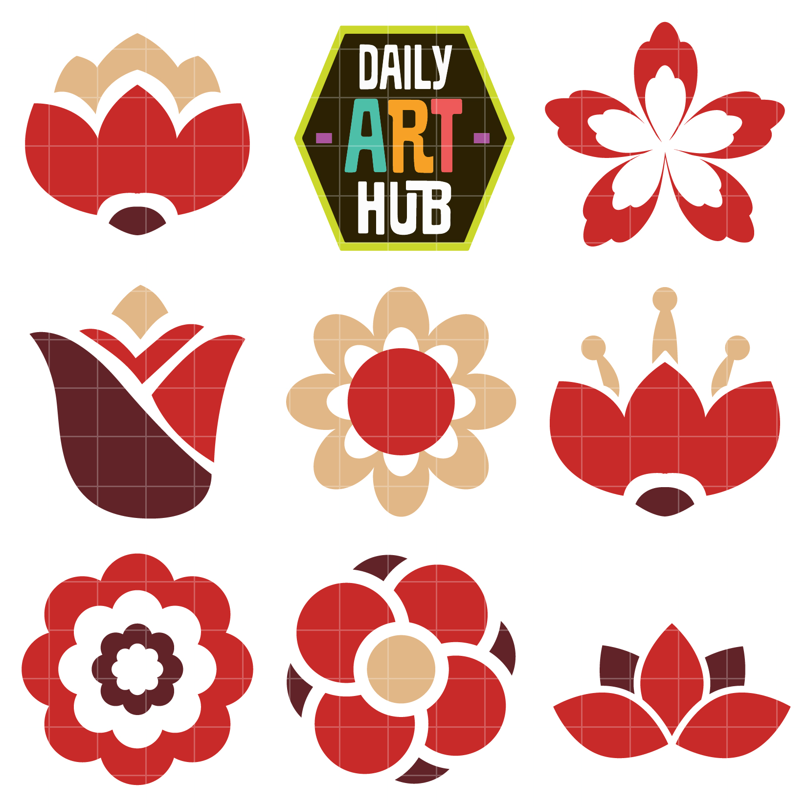 1650x1650 Simple Flowers Clip Art Set Daily Art Hub Free Clip Art Everyday