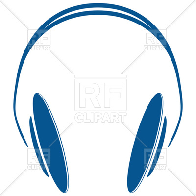 400x400 Blue Simple Headphones Royalty Free Vector Clip Art Image