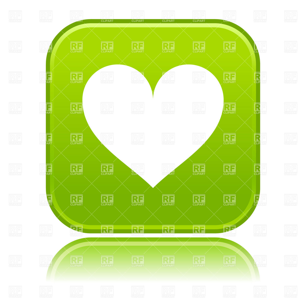 1200x1200 Green Button With Simple Heart Icon Royalty Free Vector Clip Art